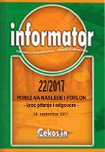 Porez na nasledje i poklon - Informator 22/2017
