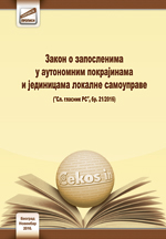 Zakon o zaposlenima u autonomnim pokrajinama i jedinicama lokalne samouprave (novembar, 2016.)